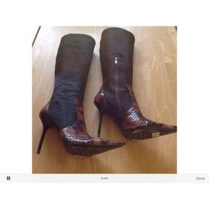 Brown Snake Skin Tall Fur Leather Boots/Booties